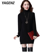Buy YAGENZ Women Medium long Sweater Pullover Winter Casual Loose Knit Solid Ladies Slim Warm Turtleneck Sweater Women Clothing 3XL for $32.99 in AliExpress store