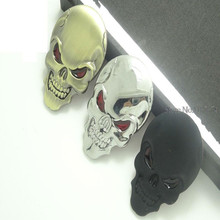 3 Colors fashion cool red eyes matel logo Cars sticker skulls metal sign car wings car accessories car styling+(China)