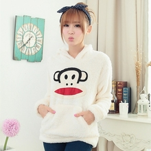 Hot Sale Cartoon Cashmere Hoodies lady autumn winter korean Sweet Cute pullover women white warm Lambs wool hooded coat LX6210