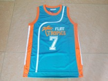 SexeMara Flint Tropics Semi Pro Movie Throwback Basketball Jerseys,#7 Coffee Blue Stitched Movie  jersey Free Shipping