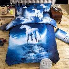 Solstice Home Textile Cool 3D Universe Unicorn Style 7 Patterns Bedclothes Bed Linen Printing Bedding Sets Single/Queen Size(China)