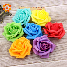 Artificial Foam Roses Diameter 6-7 Cm For Home Wedding Party Decoration Flower Heads Kissing Balls For Weddings Multi Color(China)