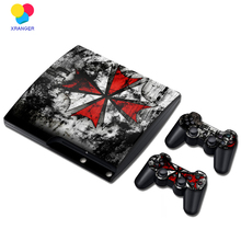 Biohazard Umbrella Vinyl Skin Sticker for PS3 Slim and 2 Controller Controle Skins Stickers for Sony Plastation 3 Slim Accessory(China)