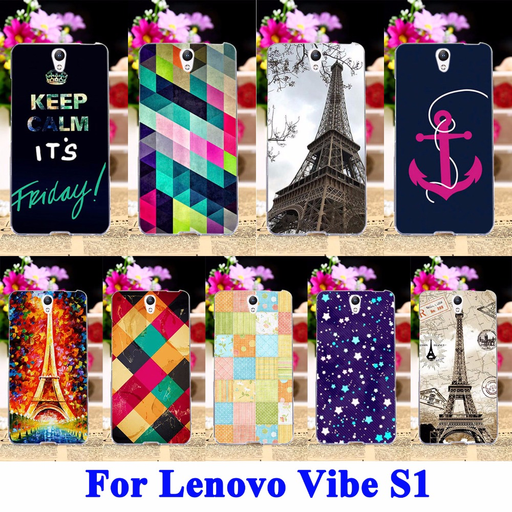 Eiffel Tower Painted Mobile Phone Cases For Lenovo Vibe S1 S1C50 S1A40 5.0 Covers Housing Skin Shell Hood Flexible Rubber Shield(China (Mainland))