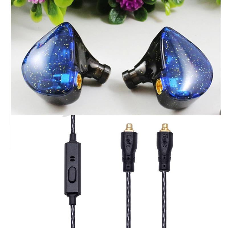 black with mic blue earphone