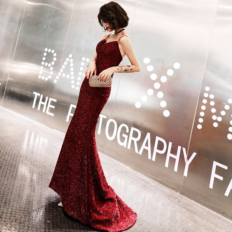 Sexy Sleeveless Women Dress Burgundy Trailing Long Cheongsam Sequins Clothing Asian Bride Wedding Evening Party Qipao Vestidos
