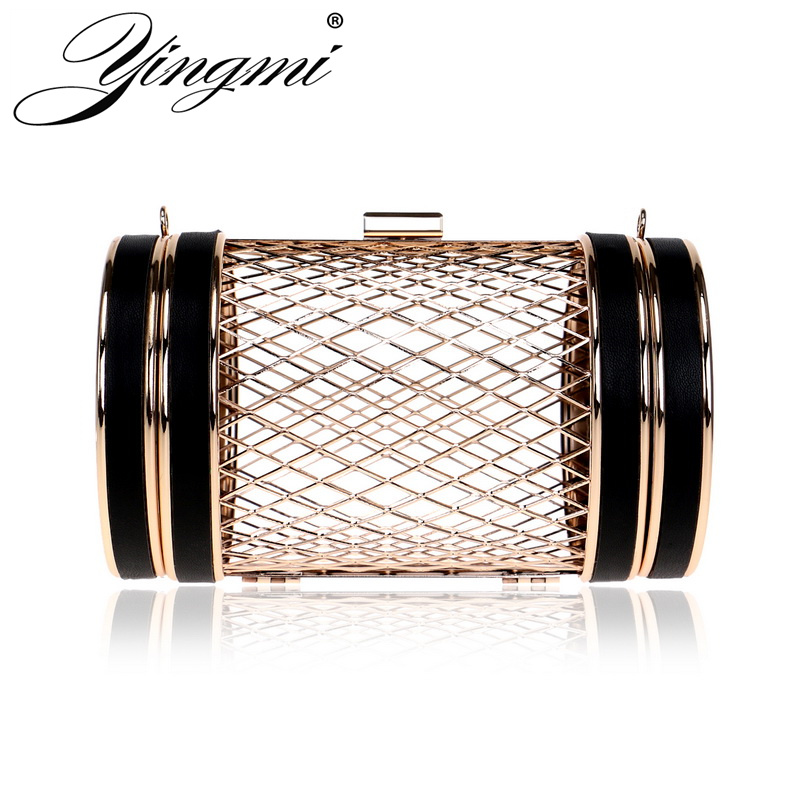 YINGMI Gold Metal Hollow Out Fashion Women Bag Chain Shoulder Ladies Small Day Clutch Purse Bag Party Dinner Handbags<br>