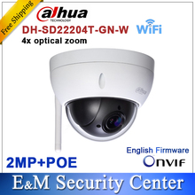Original dahua DH-SD22204T-GN-W WiFI IP 2MP HD Network Mini PTZ Dome 4x optical zoom wireless Camera SD22204T-GN-W
