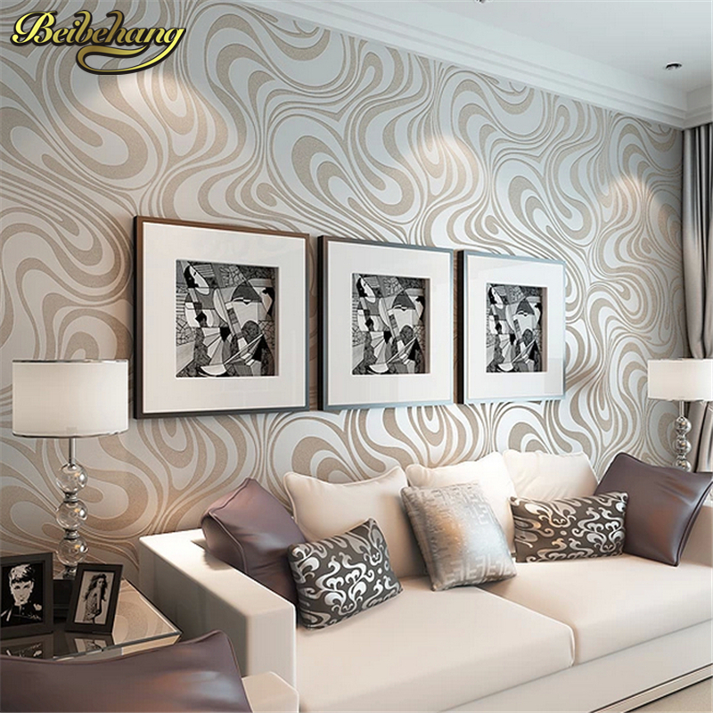 beibehang High quality 0.7m*8.4m Modern Luxury 3d wallpaper roll mural papel de parede flocking for striped wall paper<br>