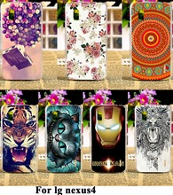 AKABEILA Luxury Painted Phone Cases For LG Google Nexus 4 E960 Nexus4 Covers Anti-Scratch Protective Bags 18 Styles Plastic(China)