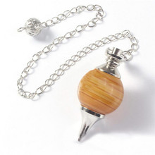 Tiger Eye Pendant Chakra Healing Natural Gem Stone Crystal Pendulum Point Pendule Stone Piedra Chain Hypnosis ball(China)
