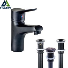 Luxury Free Shipping Bathroom Vessel Sink Basin Mixer Crane Taps Single Lever Black Hot and Cold Water Faucet