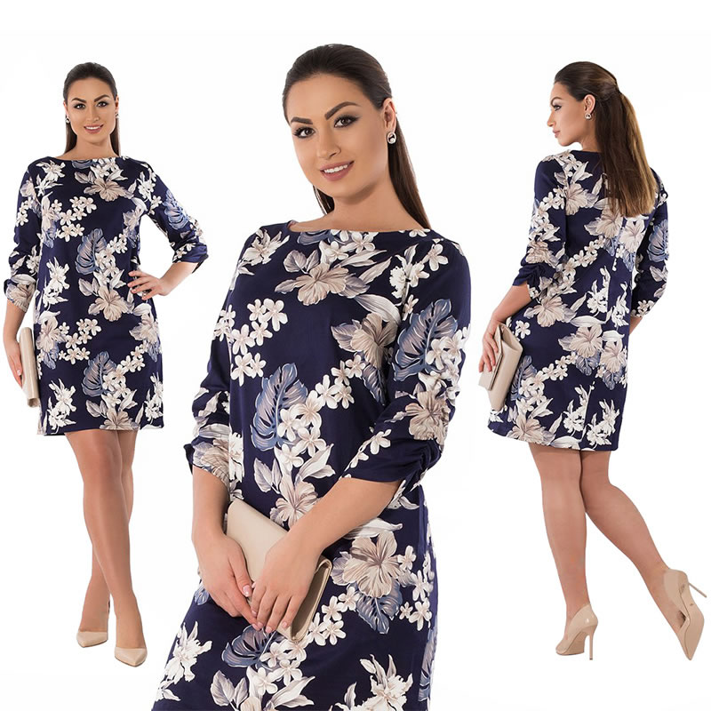 2018 Summer Dress Plus Size Women Clothing Elegant Floral Printed Dress Big Size Office Work Dress 5XL 6XL Party Dress Vestidos 15