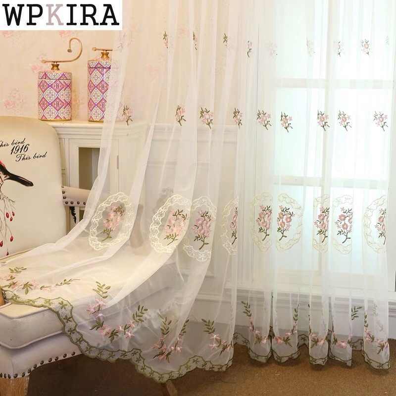 Beautiful Lace Curtains Sheer Embroidered Tulle Rustic Flower Pink Voile For Living Room Girls Room Beige Blue Cortinas S267&30