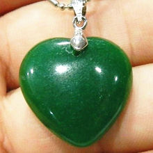 Free Shipping Fashion Style 25mm Green Stone chalcedony jades Heart-shaped Pendant High Grade Women Jewelry Findings MY5229