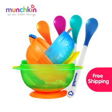 Munchkin White Hotbaby Spoons 4pk Stay Put Suction Bowls 3pk kids tableware set,baby infant spoons and bowls,BPA free(China)