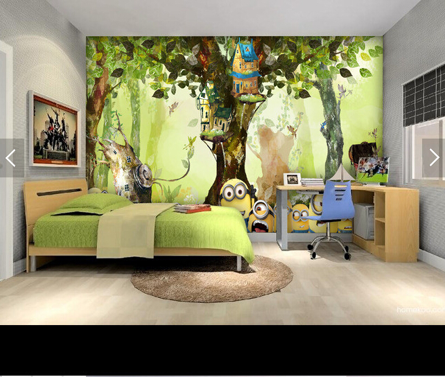Custom animation wallpaper, forest small yellow man cartoon murals for childrens room living room bedroom backdrop wallpaper<br>