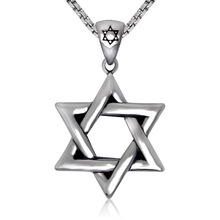 Silver tone Stainless Steel Jewish Star of David Pendant Necklace New W/ SS Chain 60CM Long(China)
