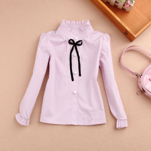 New 2016 Baby Girls Clothes Children Clothing Cotton Child Shirt School Girl Blouse Cute Bow Kids Blouse,4 Colors Age 2-16T