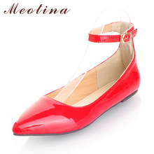 Meotina Ladies Shoes Pointed Toe Flats Ankle Strap Ballet Shoes Yellow Blue Patent Leather Flat Shoes Women Large Size 9 10 42(China)