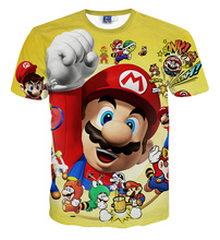 Casual t-shirt digital print color Mario characters portrait style multi-style 3D men and women short sleeve T-shirt