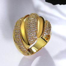 New Fashion Ring! White and Gold-color jewelry Paving crystal stones Luxury wholesale lots best friends big rings for women