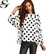 Sheinside Black Polka Dots Blouses Office Ladies Batwing Long Sleeve Round Neck Loose Tops Women Fashion White Elegant Blouse(China)