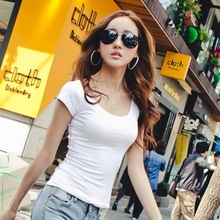 2017 High Elastic Regular Cotton New Summer Women's T Shirt Ladies' Short Sleeve T-shirt Ms Solid Casual Tee Shirts Plus Size(China)