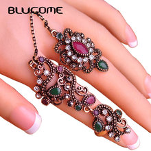 Blucome New Arrival Adjustable Turkish Two Finger Rings For Party Women Red Resin Hollow Out Flower Vintage Ring Anel Jewelry(China)