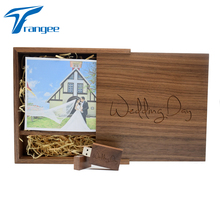 Wedding Studio Custom Logo Gifts Wooden USB Flash Drive 4GB 8GB 16GB 32GB USB 2.0 Flash Disk Pen Drive Walnut Box (170*170*35mm)