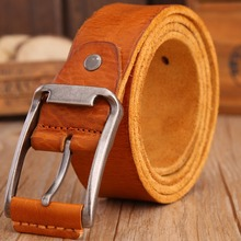 2017 hot designer belt men high quality luxury 100% real cowhide full grain genuine leather camel cowboy 3.8 cm masculine soft