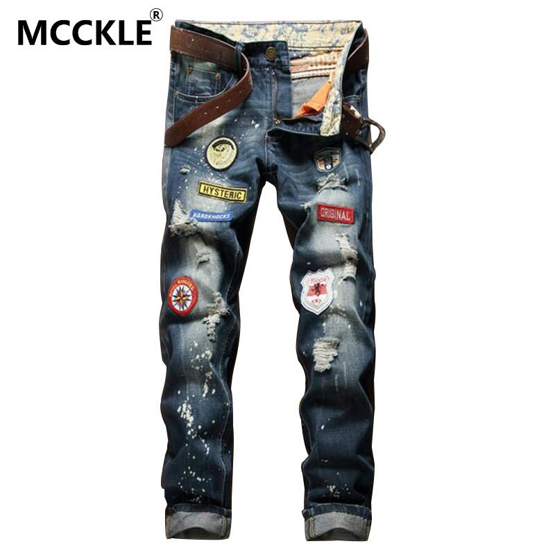 MCCKLEFashion Mens Ripped Patch Jeans Washed Slim Fit Distressed Jeans Pants Patchwork Painted Straight Torn Denim Joggers Male Одежда и ак�е��уары<br><br><br>Aliexpress
