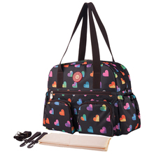 insular Floral Printing Baby Diaper Bag Fashion Multifunctional Nappy Changing Bag Tote Bag Black