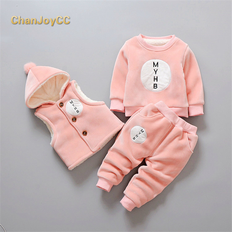 Baby Boys Girls Winter Clothing Set Kids Thickening Warm Hooded Vest+Sweater+Pant 3pcs Outfit Sport Suits Children Clothing<br>