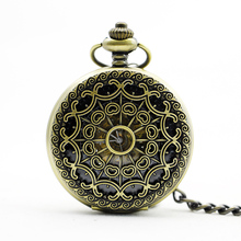 PJX905-BRONZE Classical Spider Web Heart Copper Hollow Mechanical Pocket Watch Retro Chain For Men Women Gift Watch