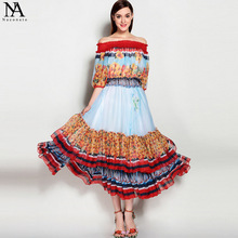 New Arrival 2017 Women's Slash Neckline Elastric Waist Short Sleeves Printed High Street Fashion Long Dresses(China)