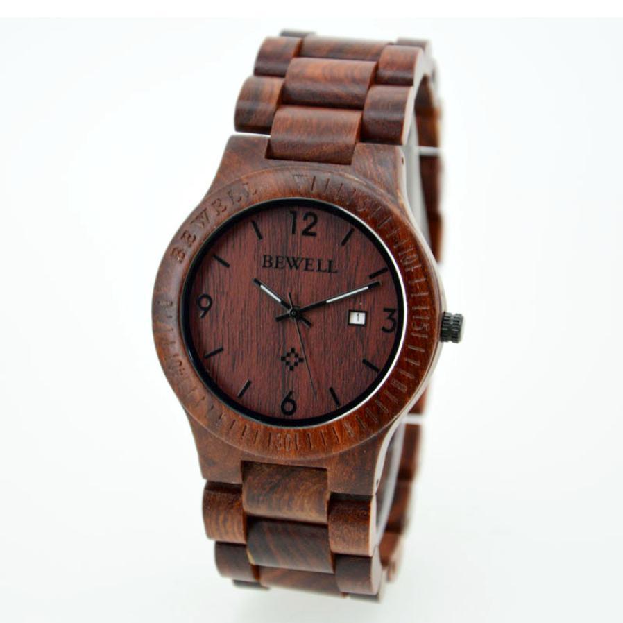 HF 2017  Bewell Natural RoseWood Watch Mens Wrist Quartz Bracelet Business Watch HOT Relojes de Hombre FEB08<br><br>Aliexpress