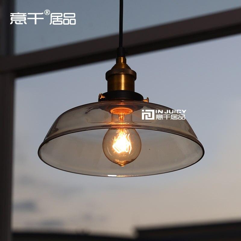 RH Loft Edison Industrial Vintage Style 1-Light  Tea Glass Pendant Ceiling Lamp  Hotel Hallway Store Club Cafe Beside<br><br>Aliexpress