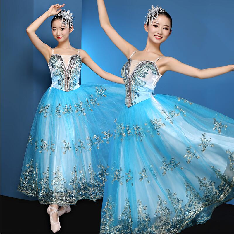 New Women blue dancer clothing classical pattern dress Chinese Folk Dance Performance Costumes Spring festival stage dance dress