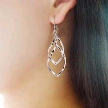 KISS WIFE Hot Sale Simple Hollow Rhombus Hollywood Star Ziyi Zhang Stud Earrings for Women Girl Piercing Jewelry(China)