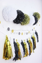 22pc (Black,Pink,White,Gold) Paper Decoration Kit Tissue Pom Tassel Garland Circle Banner Wedding Birthday Showers Party Nursery