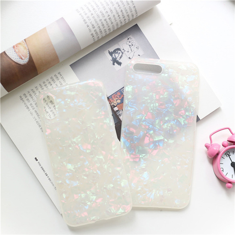 Soft TPU Silicone Cover Dream Shell Pattern Glitter Phone Case For iPhone Models