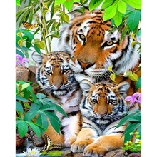 Needlework diy 5d diamond painting cross stitch tiger rhinestone pasted embroidery home decor wall sticker gift - liangzhijia store