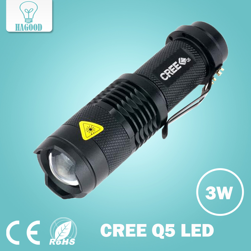 free shipping 2000LM CREE LED Flashlight 3 Modes Zoomable Torch Penlight Flashlight Portable Lighting use AA 14500<br>