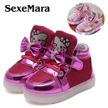 SexeMara Children Shoes 2017 New Spring Hello Kitty Rhinestone Led Shoes kids Girls Princess Cute Shoes With Light  sneakers