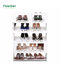 Finether 5-Tier Modular Cut-Out Wood Plastic Composite Shoe Book Magazine Storage Display Rack Organizer Shelf Unit
