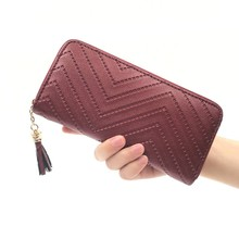 2017 long luxury brand designer women wallet clutch high quality leather tassel women purse with zipper card holder Cash Receipt(China)
