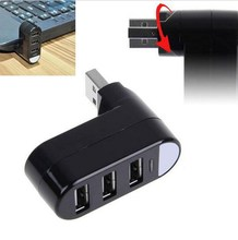 Mini 3 PORT USB 2.0 Rotate HUB Adapter For PC Desktop Laptop Notebook Expansion(China)