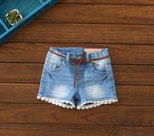 New Arrival Item Summer Baby Girls Fashion Denim Shorts Girls Casual Summer Shorts With Belt Kids Summer Pants Girls Shorts(China)