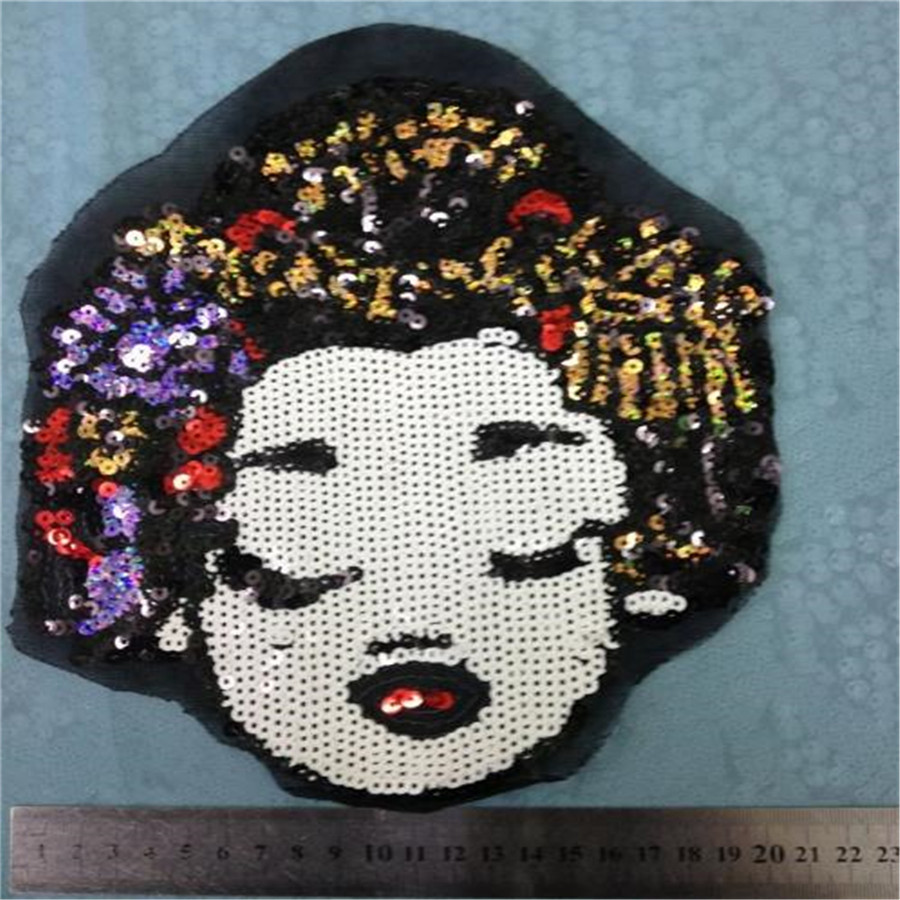 Free shipping women girl clothes sequins patches brand logo fashion embroidery patch for clothing fabric DIY(China (Mainland))